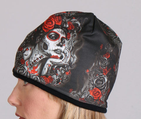 e117a82b233bb Sublimated Sugar Skull Ladies Beanie by Hot Leathers KHC1018