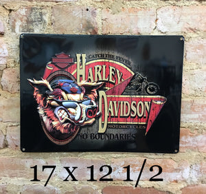 Harley Davidson® No Boundaries Hog Embossed Garage Sign by Ande Rooney
