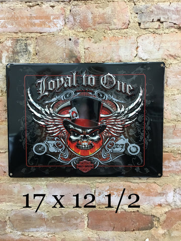Harley Davidson® Loyal to One Skull Embossed Garage Sign by Ande Rooney