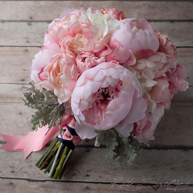 Pink Peony Silk Wedding Bouquet with Dusty Miller