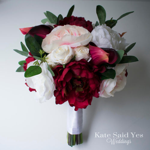 Burgundy and Ivory Peony Silk Wedding Bouquet with Blush Roses and Eucalyptus Greenery