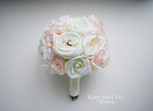 Blush Ivory and Champagne Rose Silk Wedding Bouquet, Silk Wedding Flowers