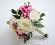 Ivory Blush Pink Peony Garden Rose Silk Wedding Bridal Bouquet with Eucalyptus Greenery