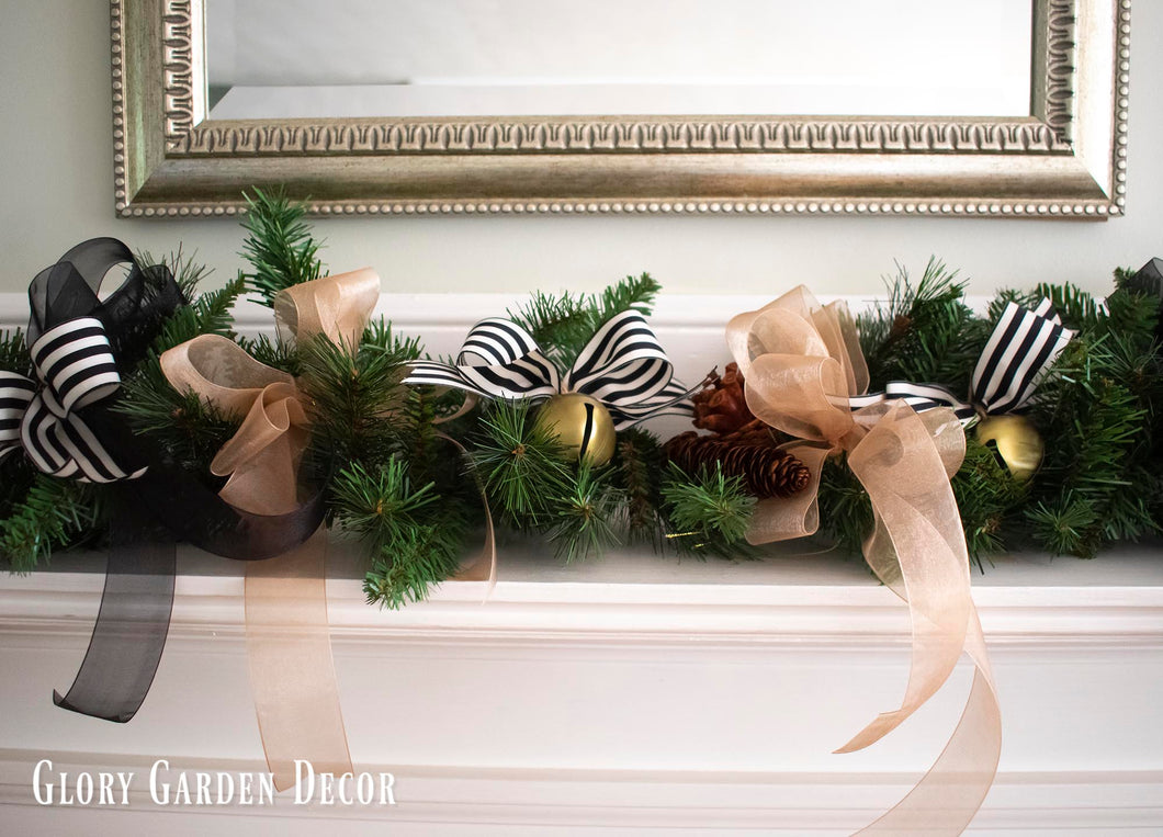 Rustic Vintage Farmhouse Garland Black White And Gold