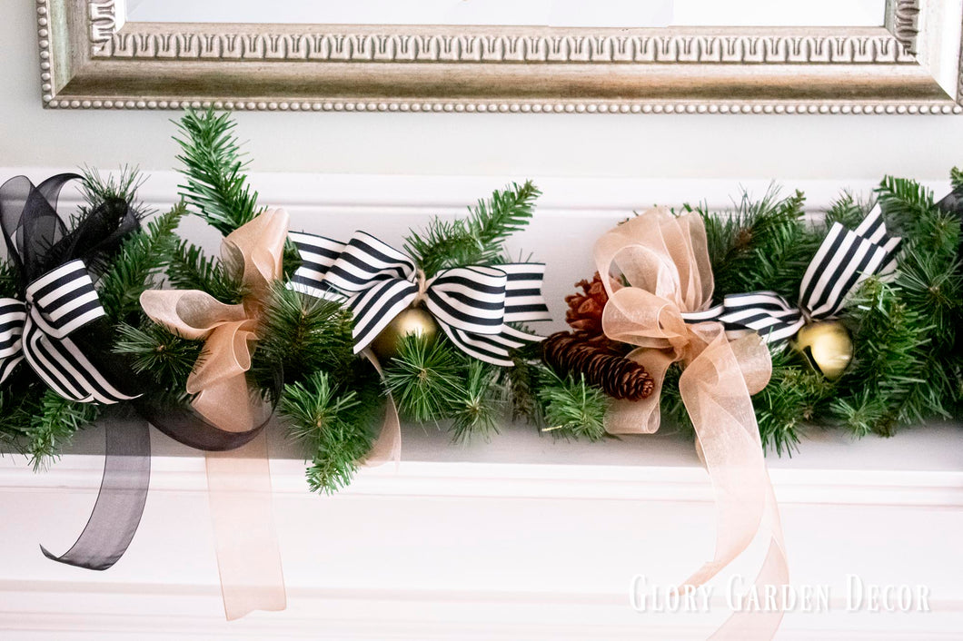Rustic Vintage Farmhouse Garland Black White And Gold Holiday Mantle Kate Said Yes Weddings