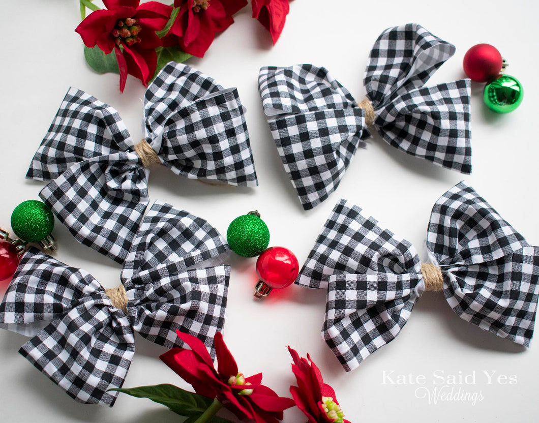 Rustic Buffalo Check Christmas Tree Bow Ornaments - Set of Black and White Bows