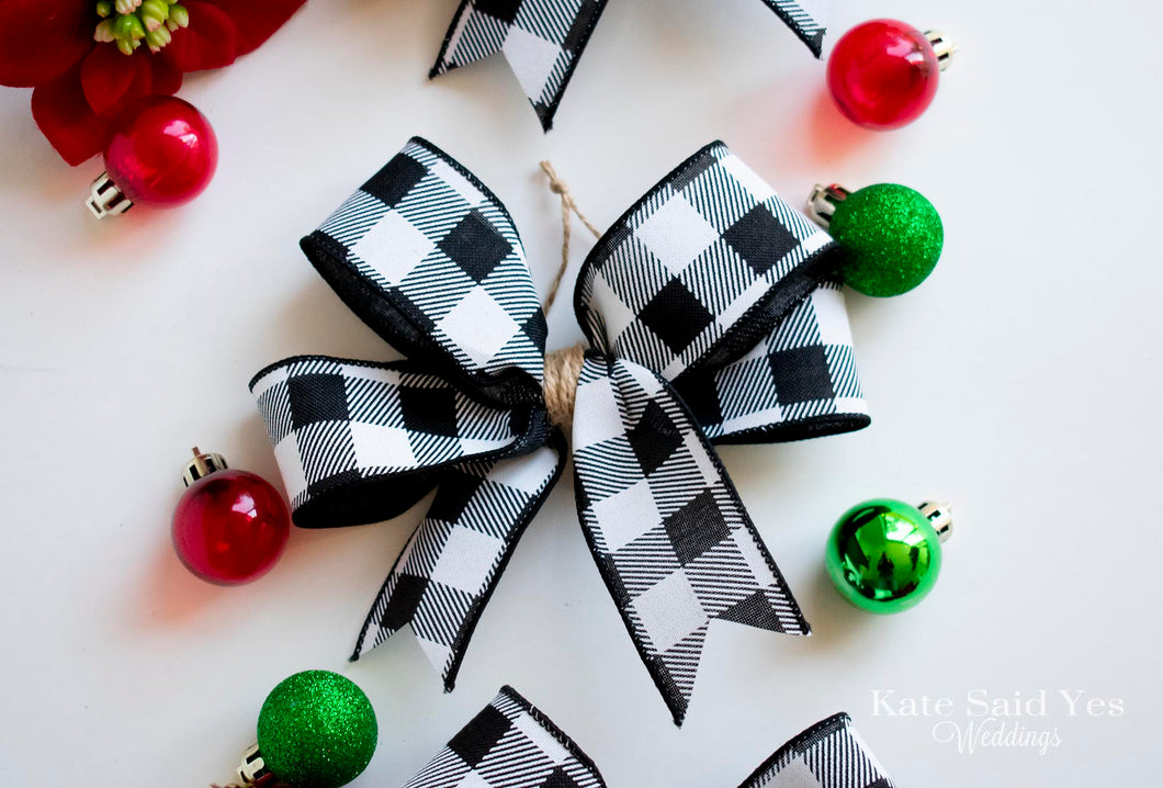 Farmhouse Buffalo Plaid Christmas Tree Bow Ornaments Set Of Black An Kate Said Yes Weddings