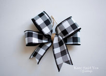 Farmhouse Buffalo Plaid Christmas Tree Bow Ornaments - Set of Black and White Bows