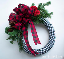 Buffalo Plaid Evergreen Christmas Door Wreath