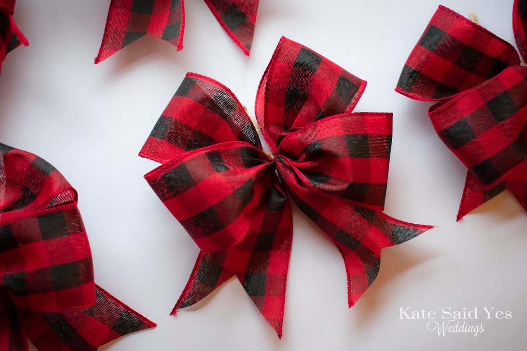 Red Buffalo Check Christmas Tree Bow Ornaments - Set of 12