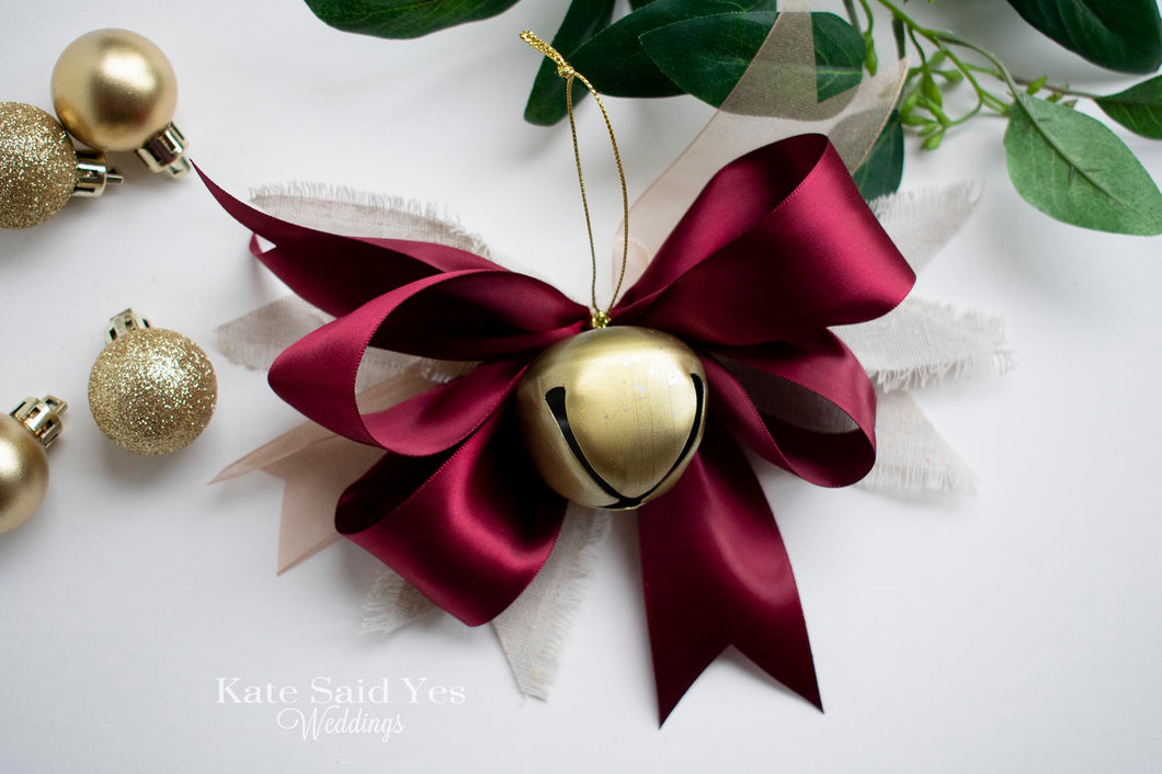 Rustic Red Satin Jingle Bell Christmas Tree Ornaments