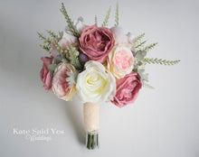 Blush Pink and Ivory Garden Rose Silk Wedding Bridal Bouquet with Greenery