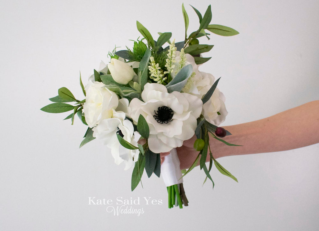 Rustic Greenery Wedding Bouquet With Silk Anemones Wildflowers Roses A Kate Said Yes Weddings