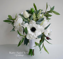 Rustic Greenery Wedding Bouquet with Silk Anemones Wildflowers Roses and Eucalyptus