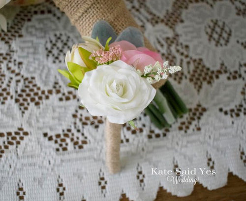 Rustic Ivory Rose and Wildflower Boutonniere with Burlap Wrap