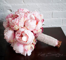 Blush Pink Peony Bouquet with Rhinestone Handle - Peony Wedding Bouquet