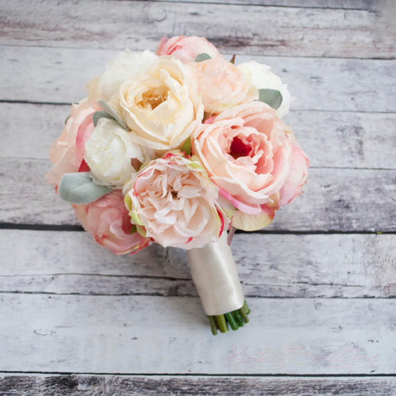 ... Peach Ivory And Blush Peony And Garden Rose Wedding Bouquet With Lambu0027s  ...