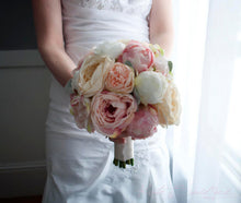 Peach Ivory and Blush Peony and Garden Rose Wedding Bouquet with Lamb's Ear