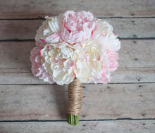 Ivory and Blush Pink Peony Wedding Bouquet - Rustic Peony Bouquet