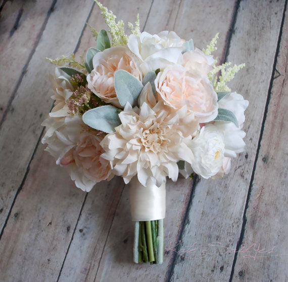 Wedding Bouquet   Blush Pink And Ivory Garden Rose Dahlia And Peony Wedding  Bouquet