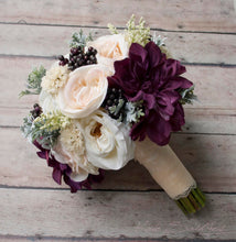 Rustic Bouquet, Wedding Bouquet, Silk Bouquet, Blush Ivory and Plum Garden Rose and Dahlia Wedding Bouquet