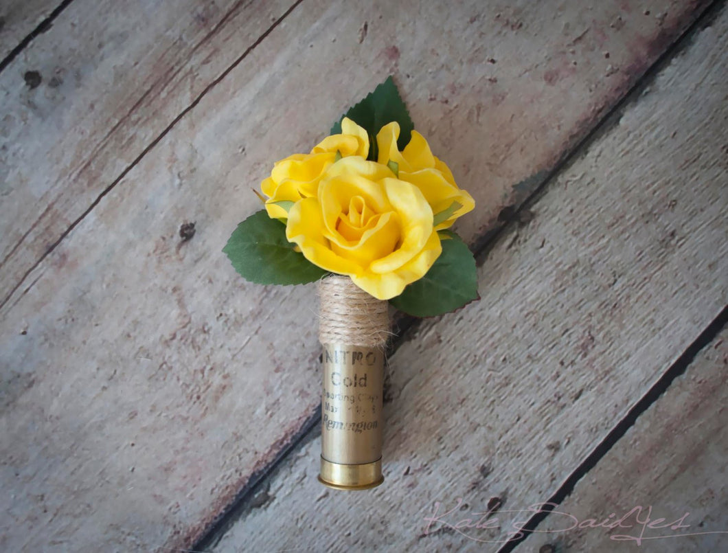 Shotgun Shell Wedding Boutonniere with Yellow Roses
