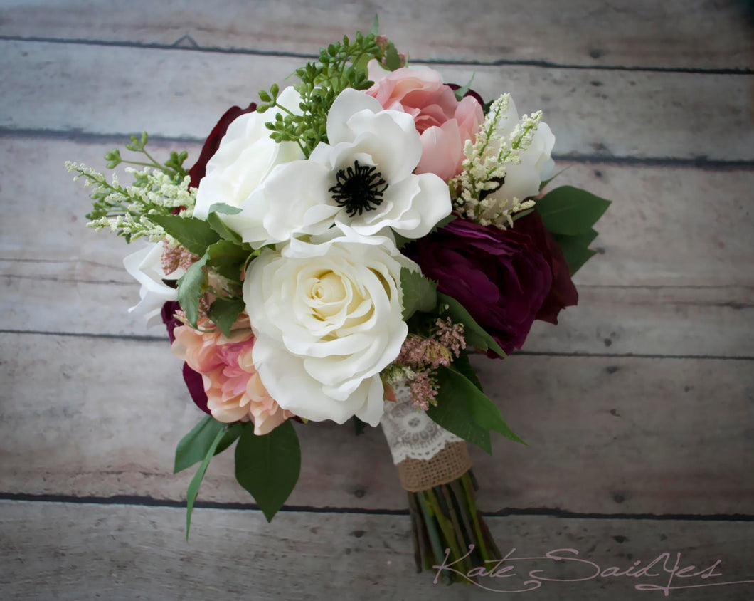Rustic Bouquet - Blush Ivory and Plum Garden Rose Anemone and Peony Wedding Bouquet