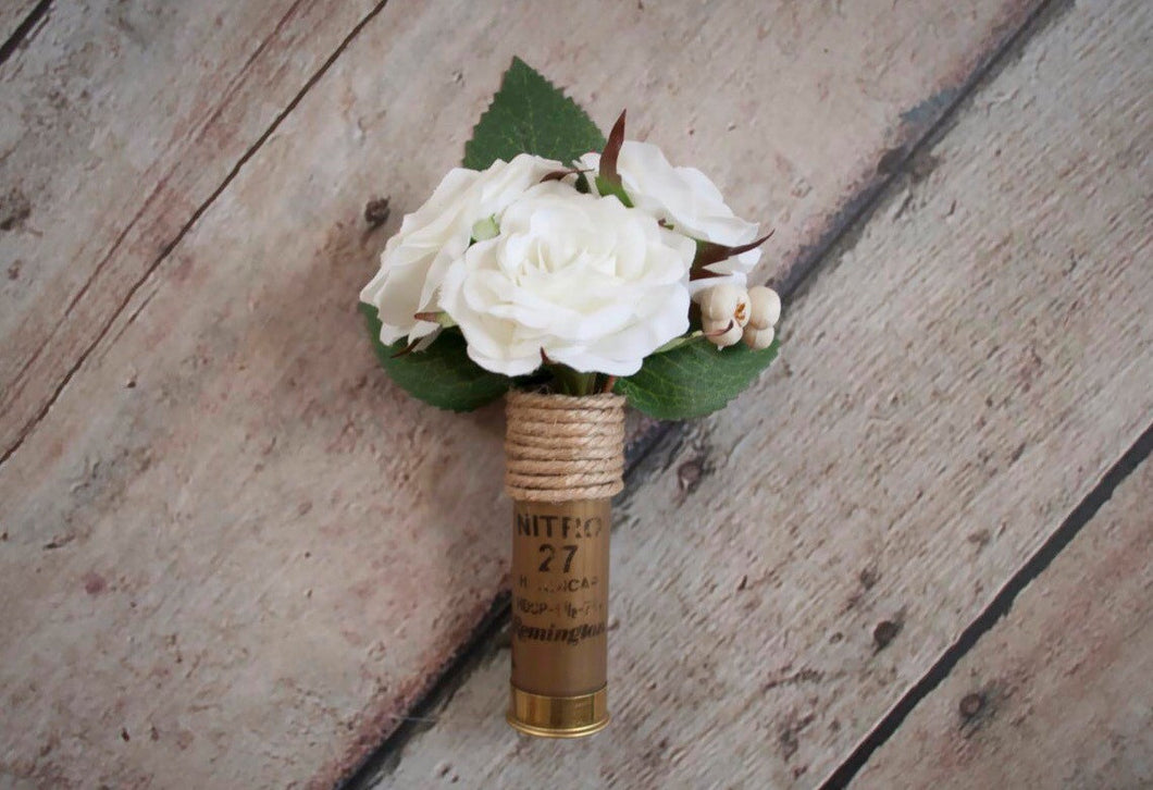 Rustic Ivory Rose Wedding Shell Boutonniere
