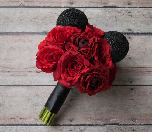 Disney Wedding Mickey Wedding Bouquet - Red Rose Wedding Bouquet