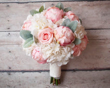 Shabby Chic Wedding Bouquet - Peony Rose and Hydrangea Ivory and Blush Wedding Bouquet with Lace Wrap and Lambs Ear