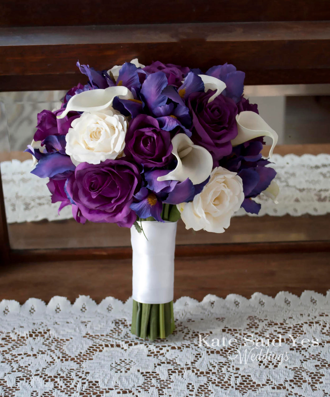 Purple and Ivory Iris Rose and Calla Lily Wedding Bouquet - Silk Wedding Bouquet