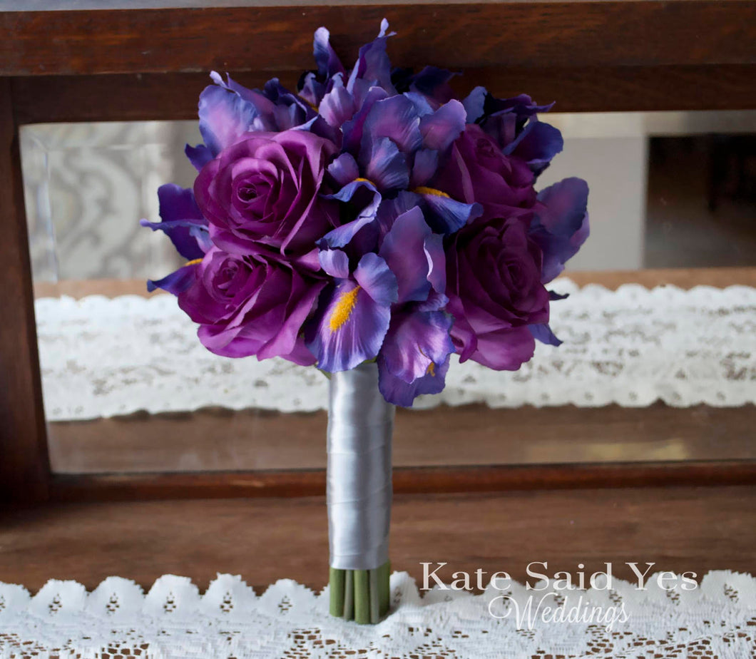 Purple Iris and Rose Wedding Bouquet - Silk Wedding Bouquet Bridesmaids Bouquet