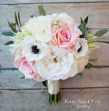 Silk Blush Pink and Ivory Rose and Anemone Bridal Bouquet