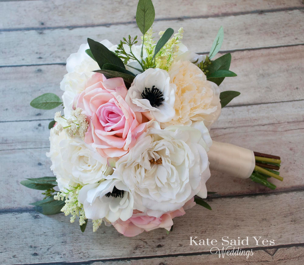 Silk Blush Pink And Ivory Rose And Anemone Bridal Bouquet Kate