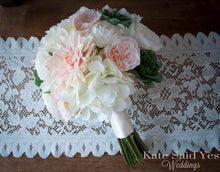 Blush Pink and Ivory Dahlia Hydrangea and Succulent Bouquet