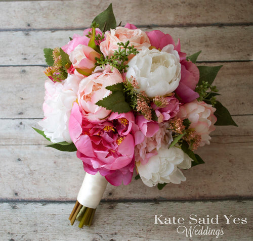 Silk Pink Peony Wedding Bouquet - Rustic Garden Bouquet