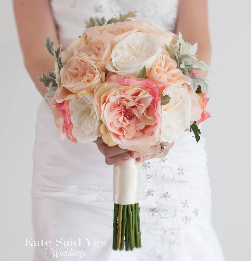 Silk Blush Pink Rose Wedding Bouquet