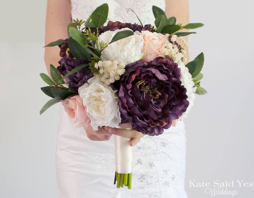Rustic Plum Blush and Ivory Peony Bouquet - Silk Wedding Bouquet