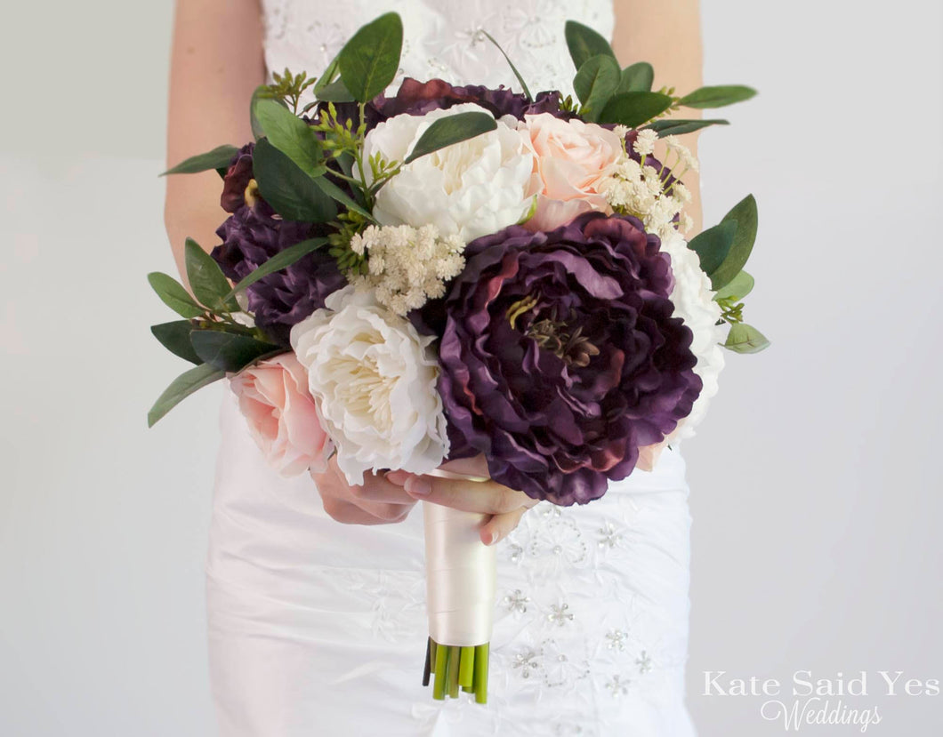 Rustic Plum Blush And Ivory Peony Bouquet Silk Wedding Bouquet