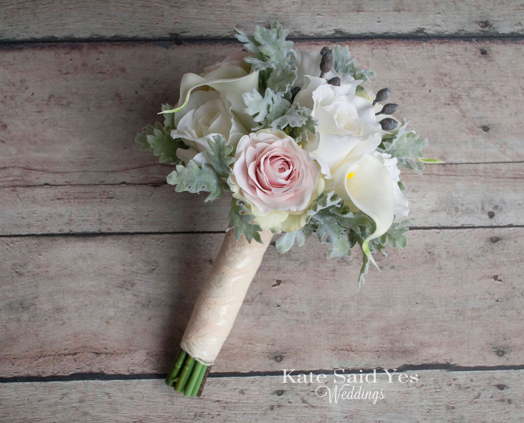 Silk Wedding Bouquet, Bridesmaid Bouquet, Greenery Bouquet, Silk Wedding Flowers, Dusty Miller Bouquet, Silk Rose Bouquet, Silk Bouquet