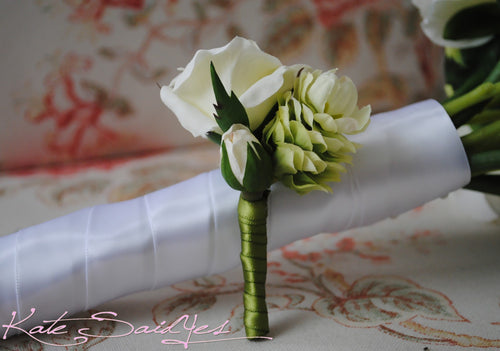 Rose and Hops Silk Wedding Boutonniere