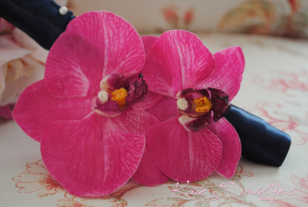 Orchid Hair Pin - Two Orchid Fuchsia Pink Real Touch Hair Pin