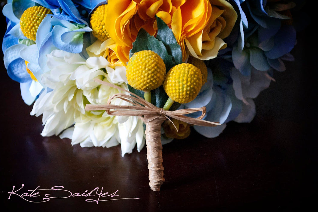 Billy Button Craspedia Wedding Boutonniere