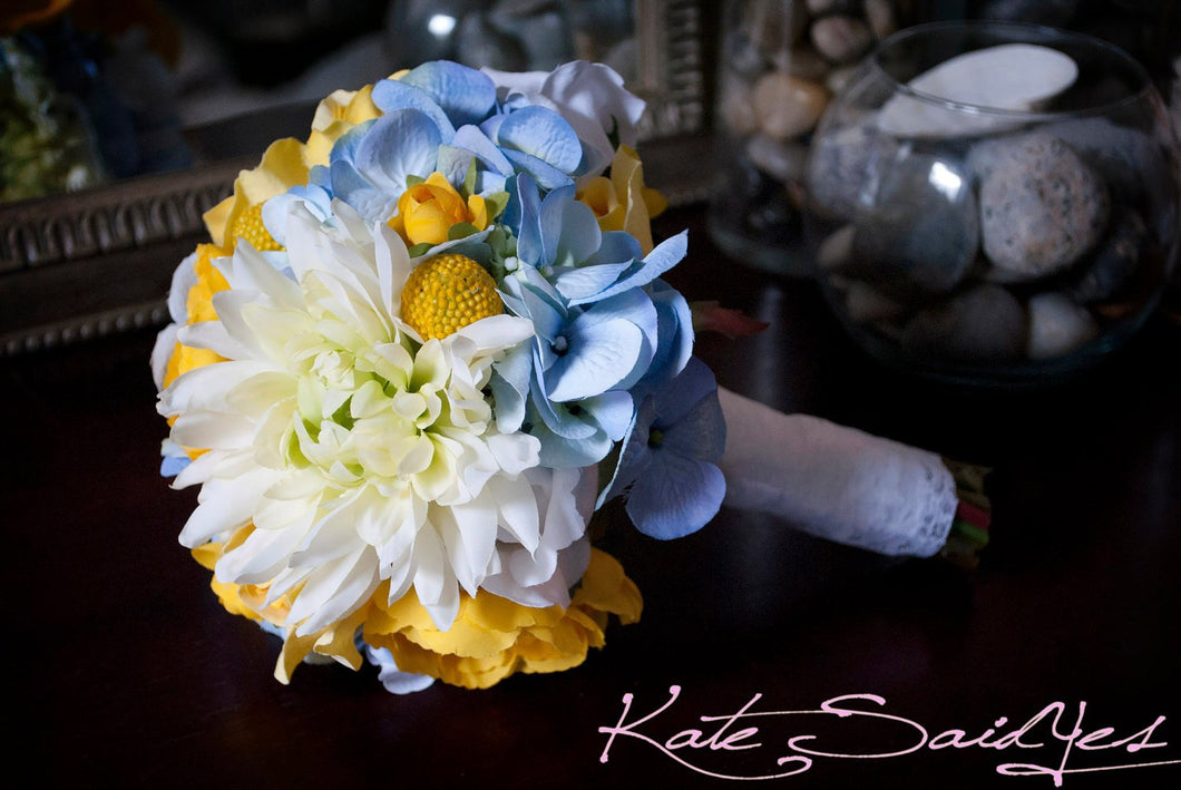Silk Wedding Bouquet - Blue Hydrangeas, Yellow Ranunculus, Billy Buttons, Roses, and Mums - Small Bouquet