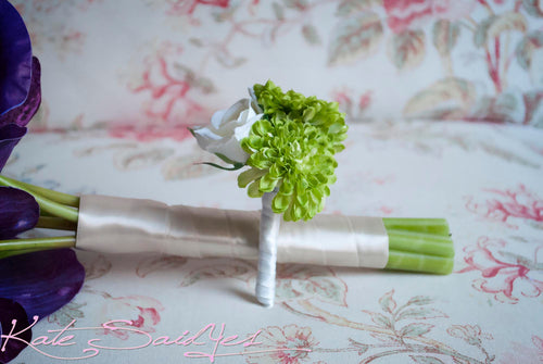 Wedding Boutonniere - White Rose and Lime Green Pom Boutonniere