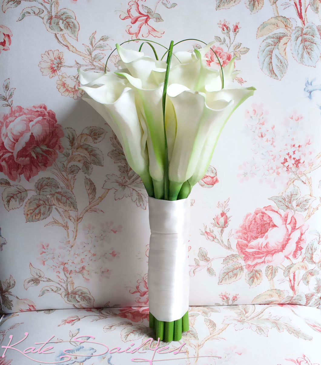 Bridal Bouquet - Large Ivory Calla Lily Bouquet - Real Touch Calla Lily Wedding Bouquet