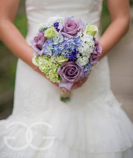 Garden Wedding Bouquet Lavender Rose Hydrangea Shabby Chic Wedding Bouquet with Burlap