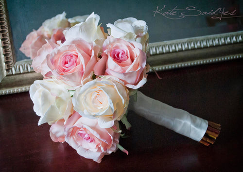 Ivory and Blush Pink Rose Bouquet - Rose Wedding Bouquet