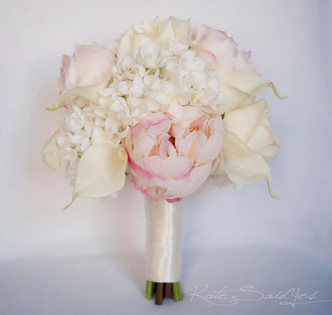 Ivory and Blush Wedding Bouquet - Peony Hydrangea Rose and Calla ...