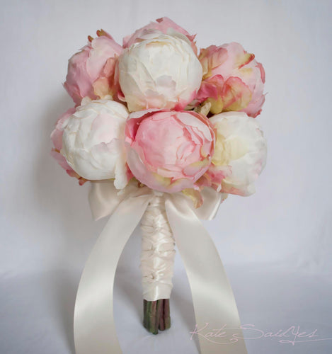 Ivory and Blush Pink Peony Bud Wedding Bouquet - Peony Wedding Bouquet